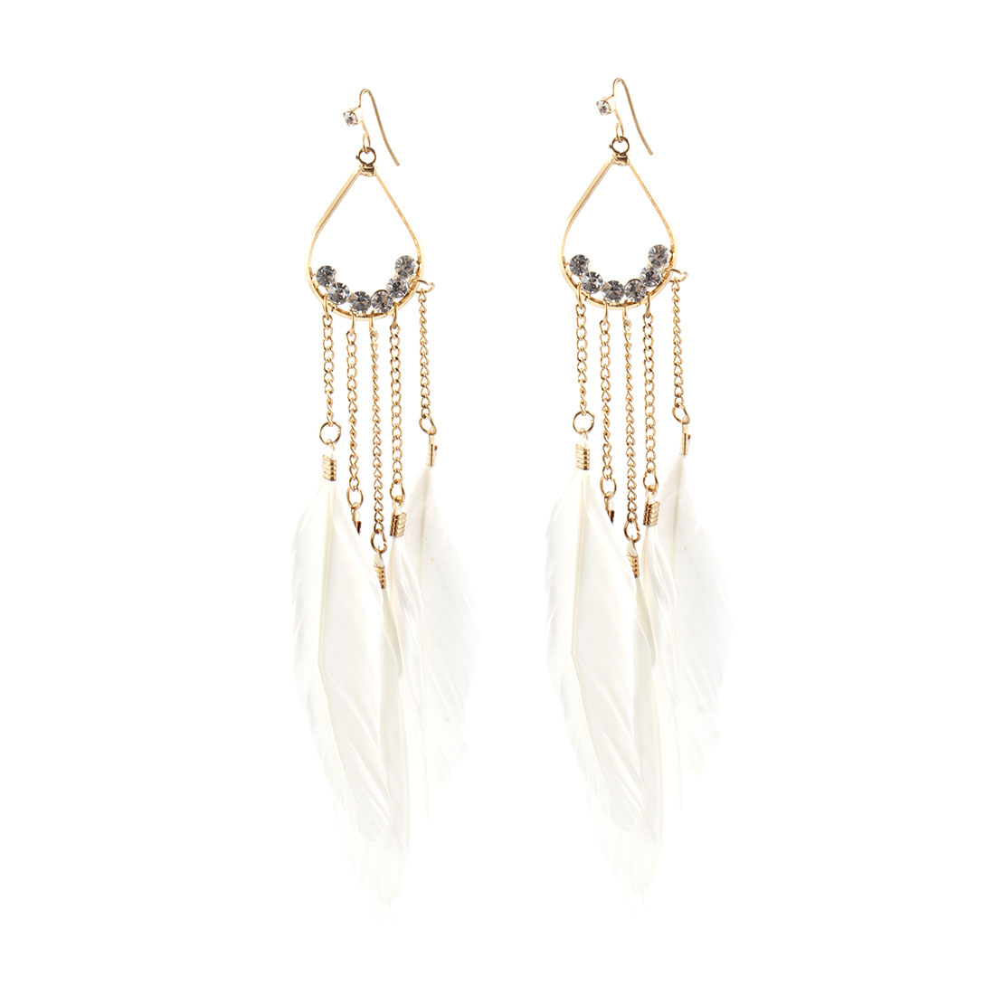 White Feather Faux Crystal Gold Tone Chain Dangling Hook Earrings for Lady