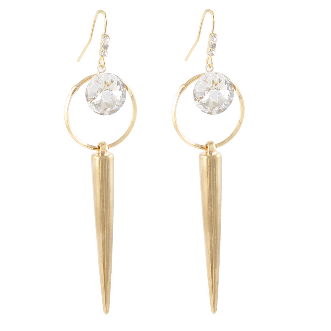 Faux Crystal Gold Tone Pepper Pendant Ear Hook Earrings for Lady