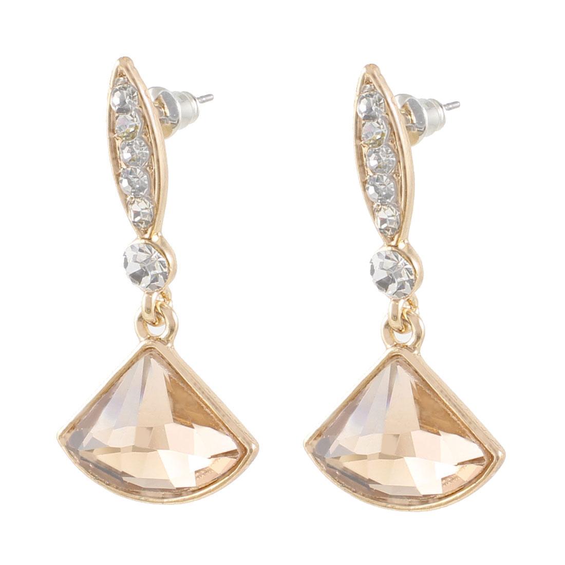 Ladies Women Gift Faux Craystal Gold Tone Stud Eardrop Earrings