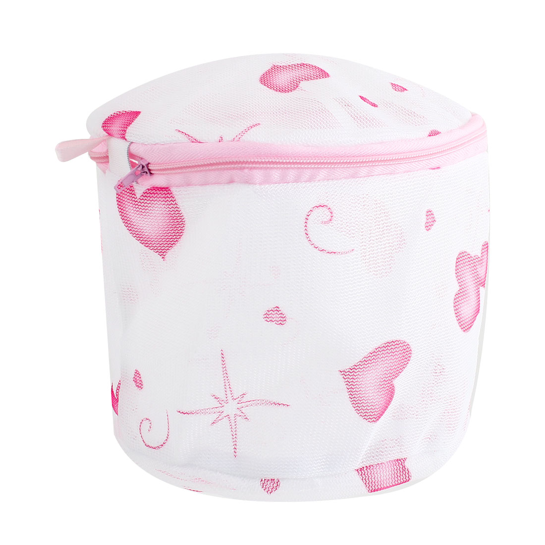 Zipper Closure Heart Pattern Foldable Underwear Wash Washing Bag White Pink