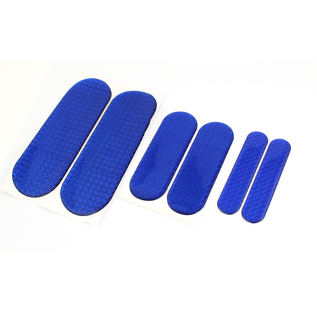 Vehicle Car Self Adhesive Back Plastic Blue Reflective Stickers Set 6 in 1