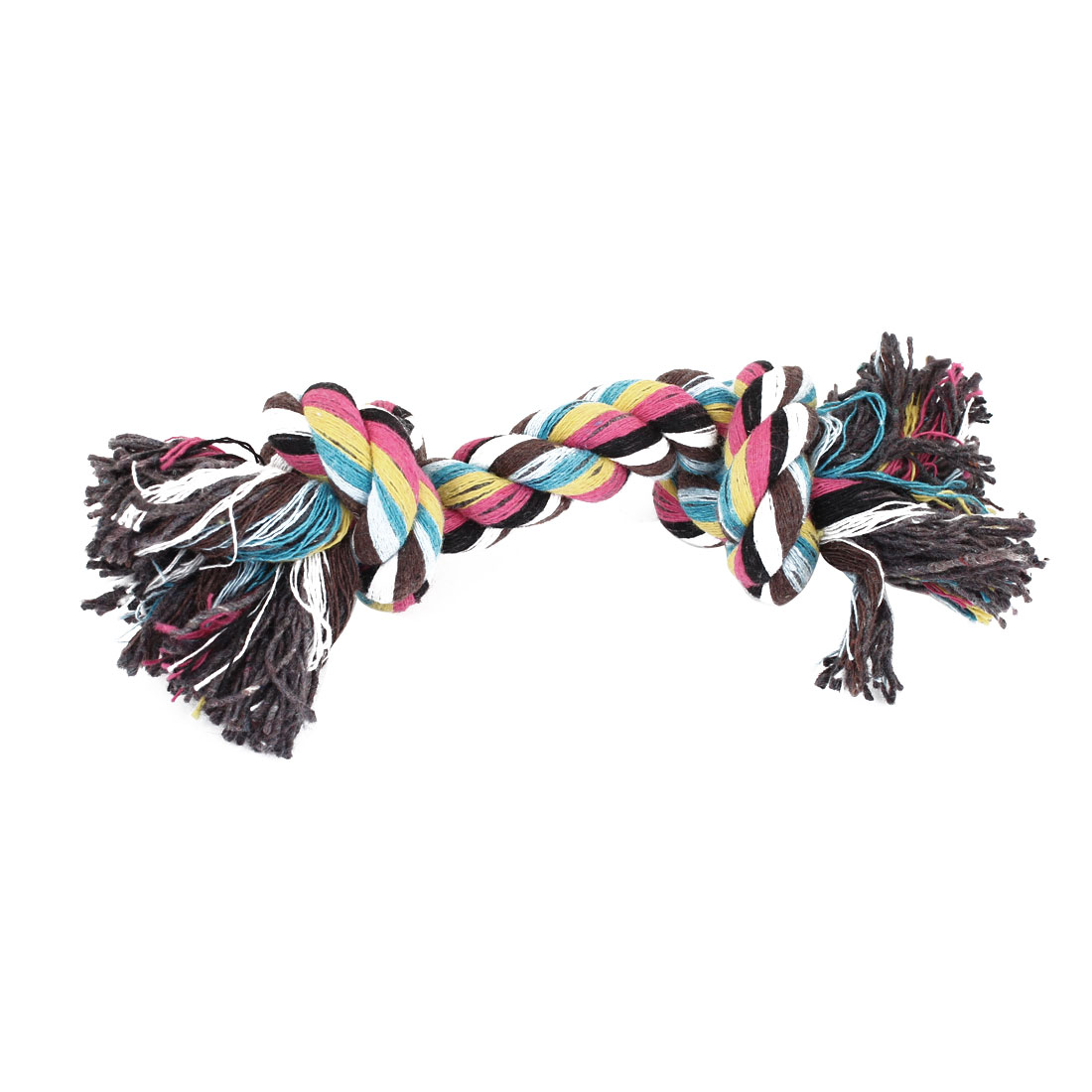 Family Dogs Pets Braided Rope Bone Chew Tug Toy Tool Multicolor 18cm Length