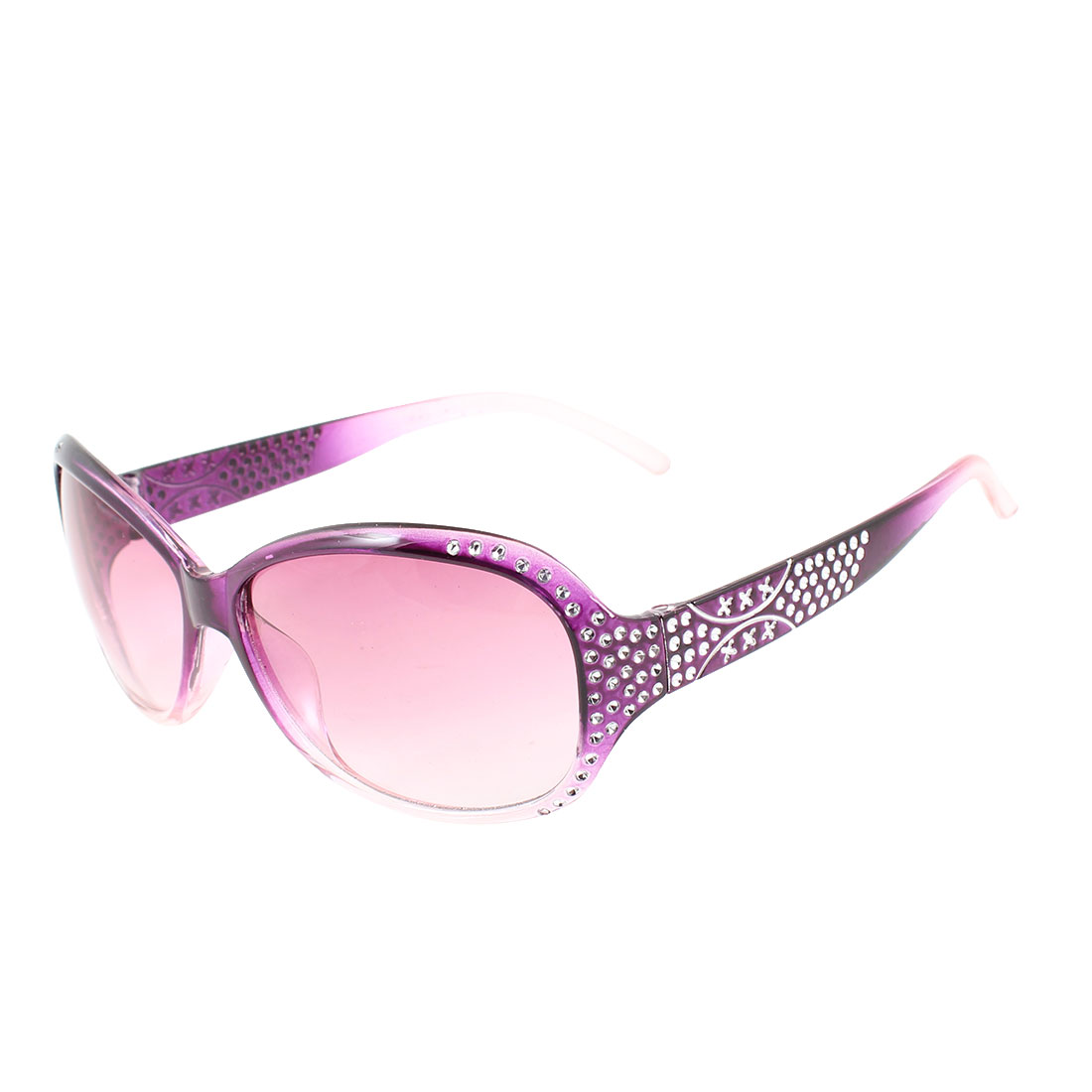 Purple Plastic Arm Full Rim Colored Lens Sunglasses Decor for Lady Women