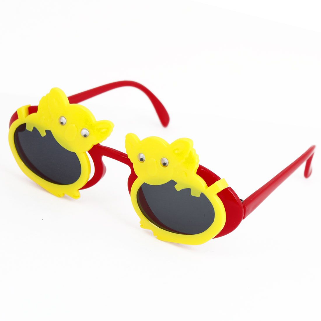 Red Yellow Plastic Arms Double Animals Flip up Sunglasses for Child