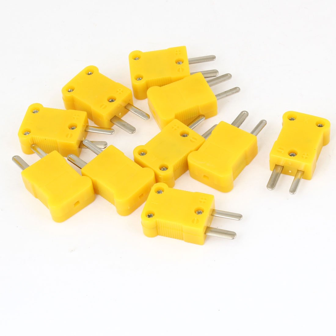 10Pcs 22mm x 18mm x 9mm Yellow Casing 2-Terminal Thermocouple Socket