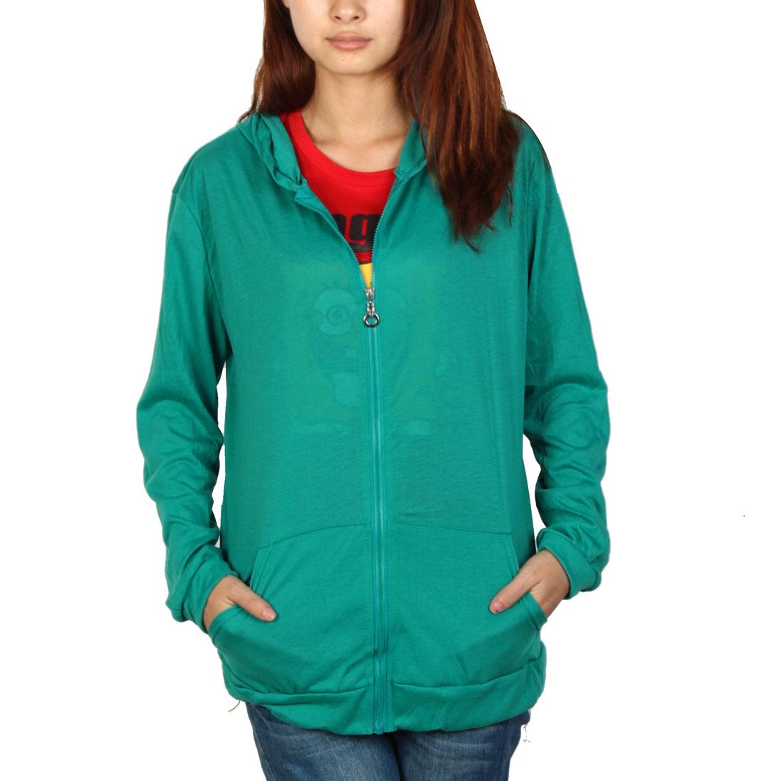 L Women Hooded Zip Front Long Sleeve Slant Pockets Simple Hoodies Green