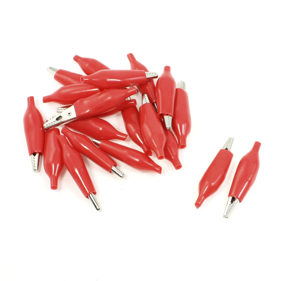 Red Boot 45mm Length Electric Test Probe Alligator Clips 20 Pcs