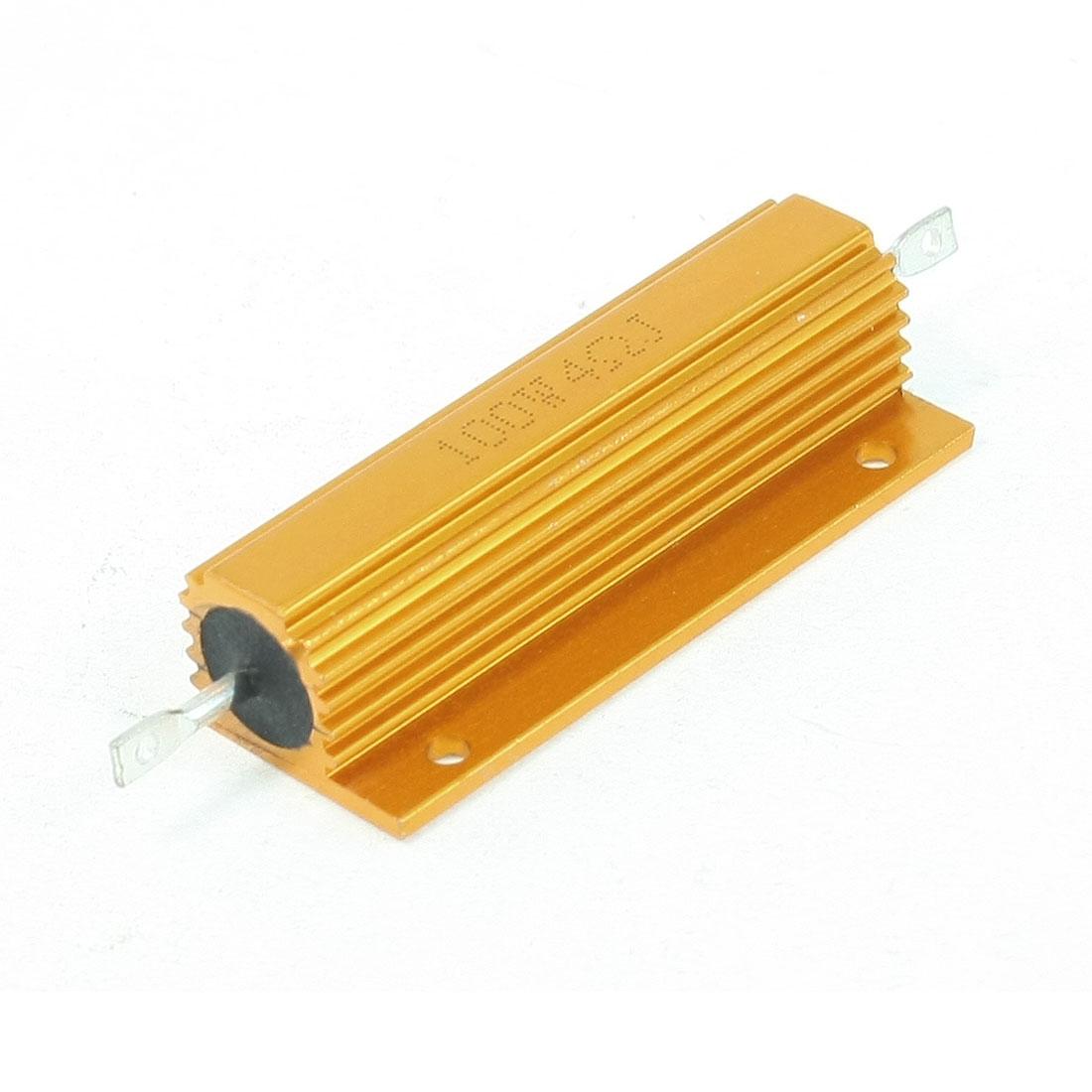 100W % 4 Ohm Gold Tone Resistance Aluminum Shell Resistors