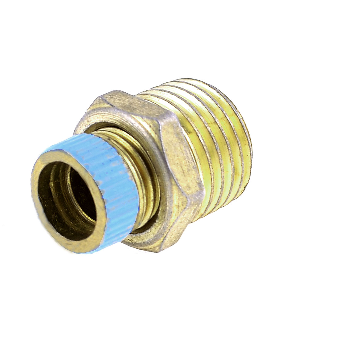"Air Compressor 0.5"" Male Thread Water Drain Valve Brass Tone Blue"