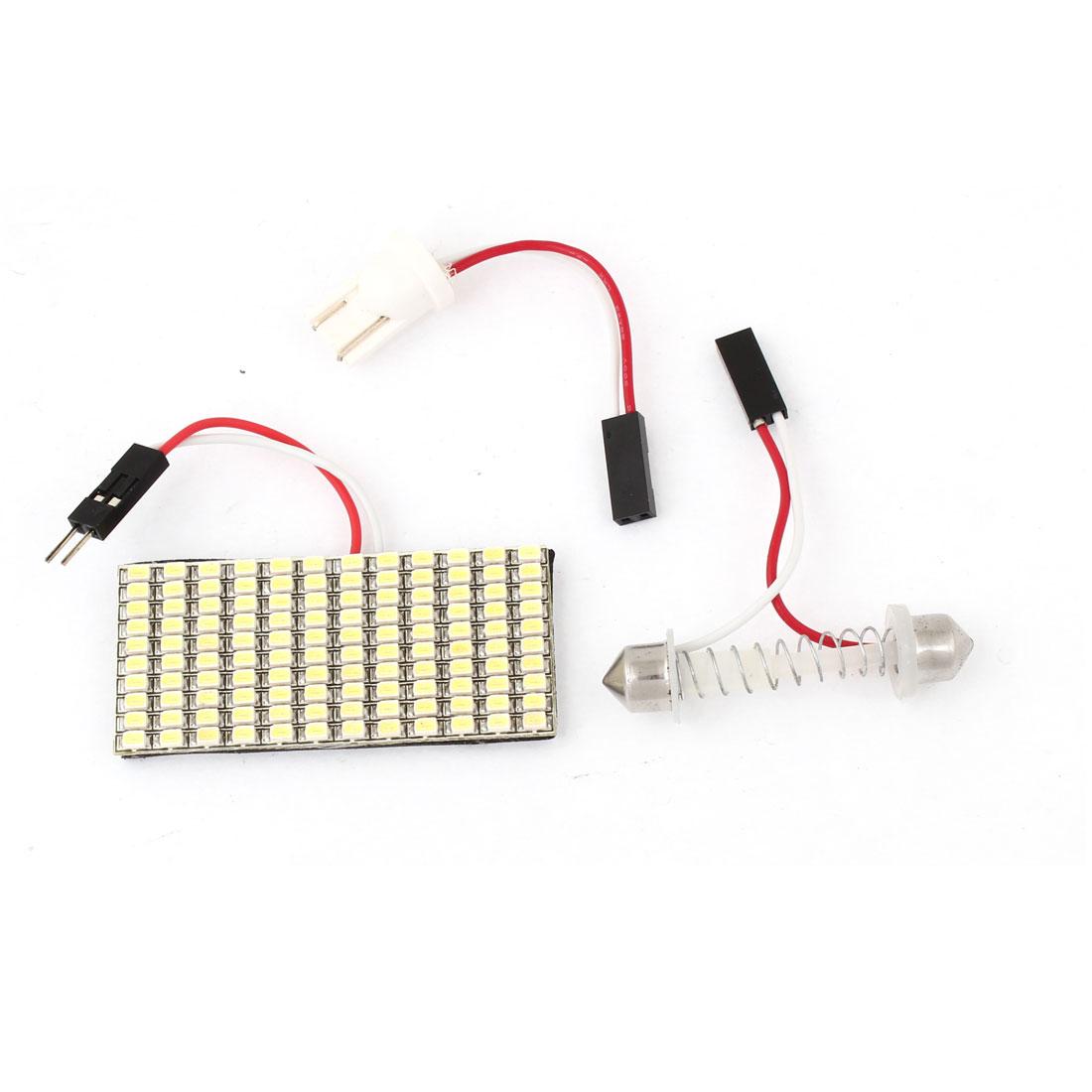 White 120 LED 1206 SMD Dome Light Lamp Bulb w T10 Festoon Adapter for Car
