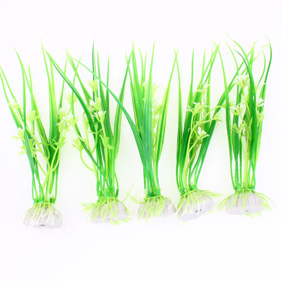 "5 Pcs Fish Tank White Green Manmade Grass Underwater Plant Decor 6.7"" Height"