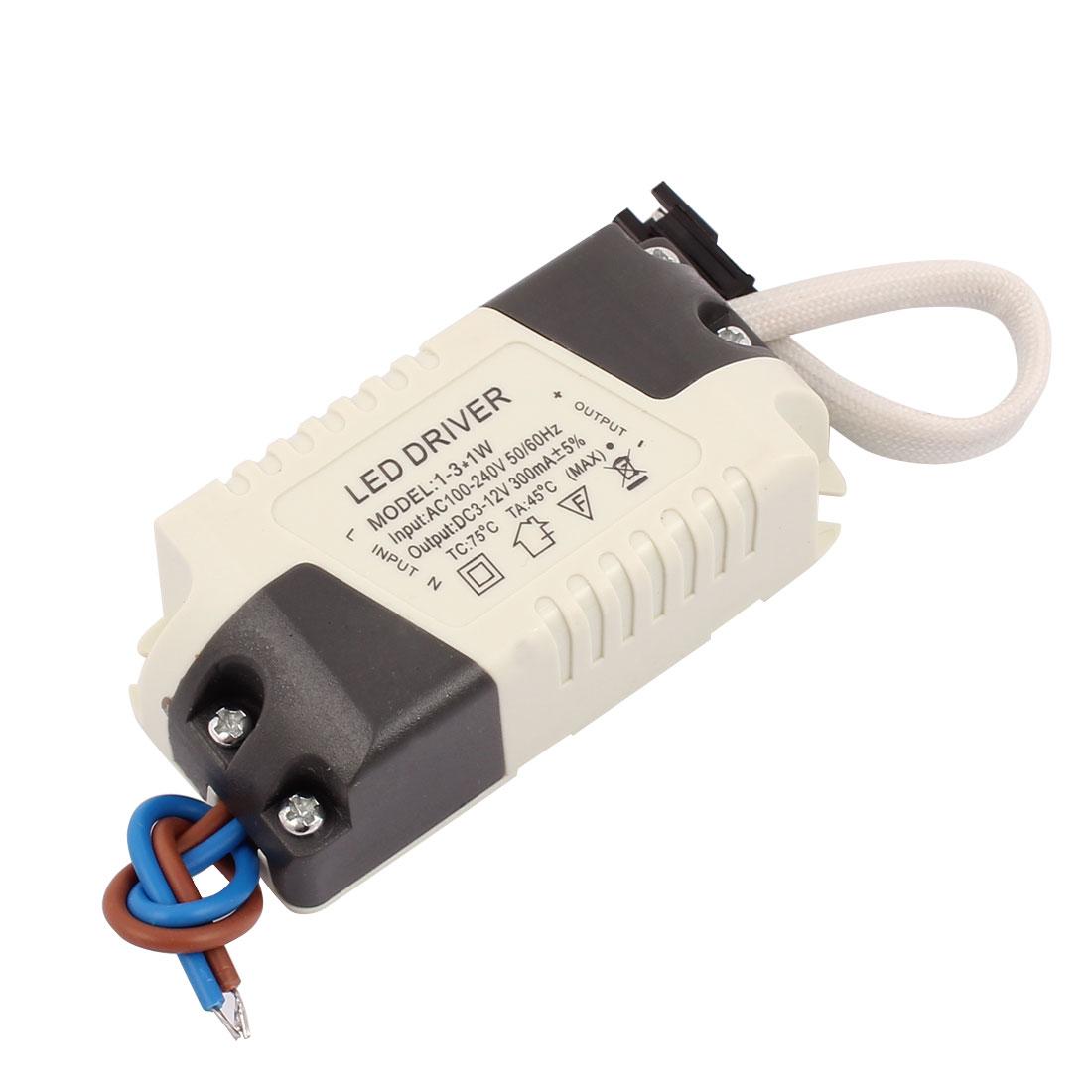AC 100-240V 50/60Hz to DC 3-12V 300mA LED Strip Driver Power Supply