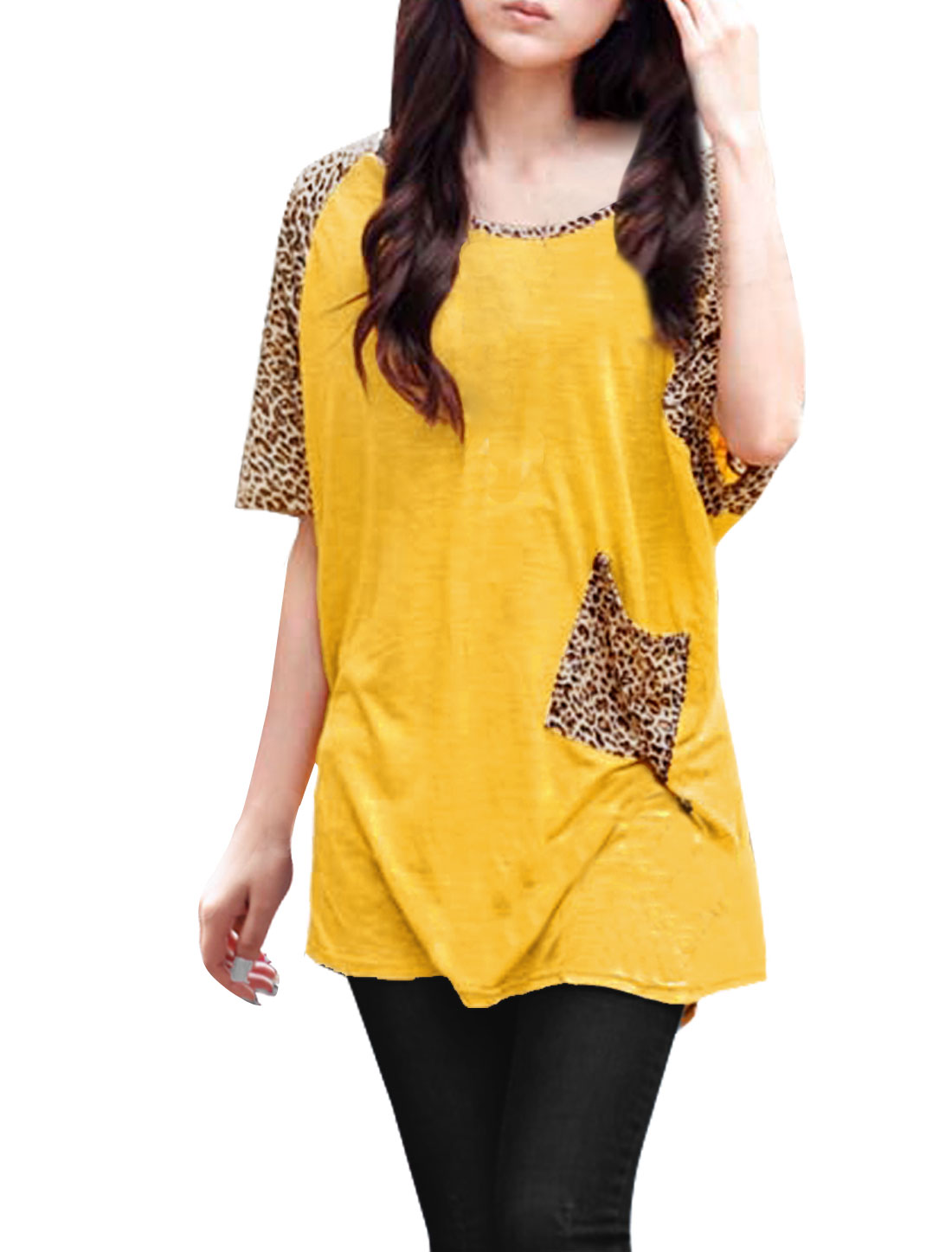 Lady Chic Leopard Pattern Splice Sleeve Yellow Tunic Loose Shirt M