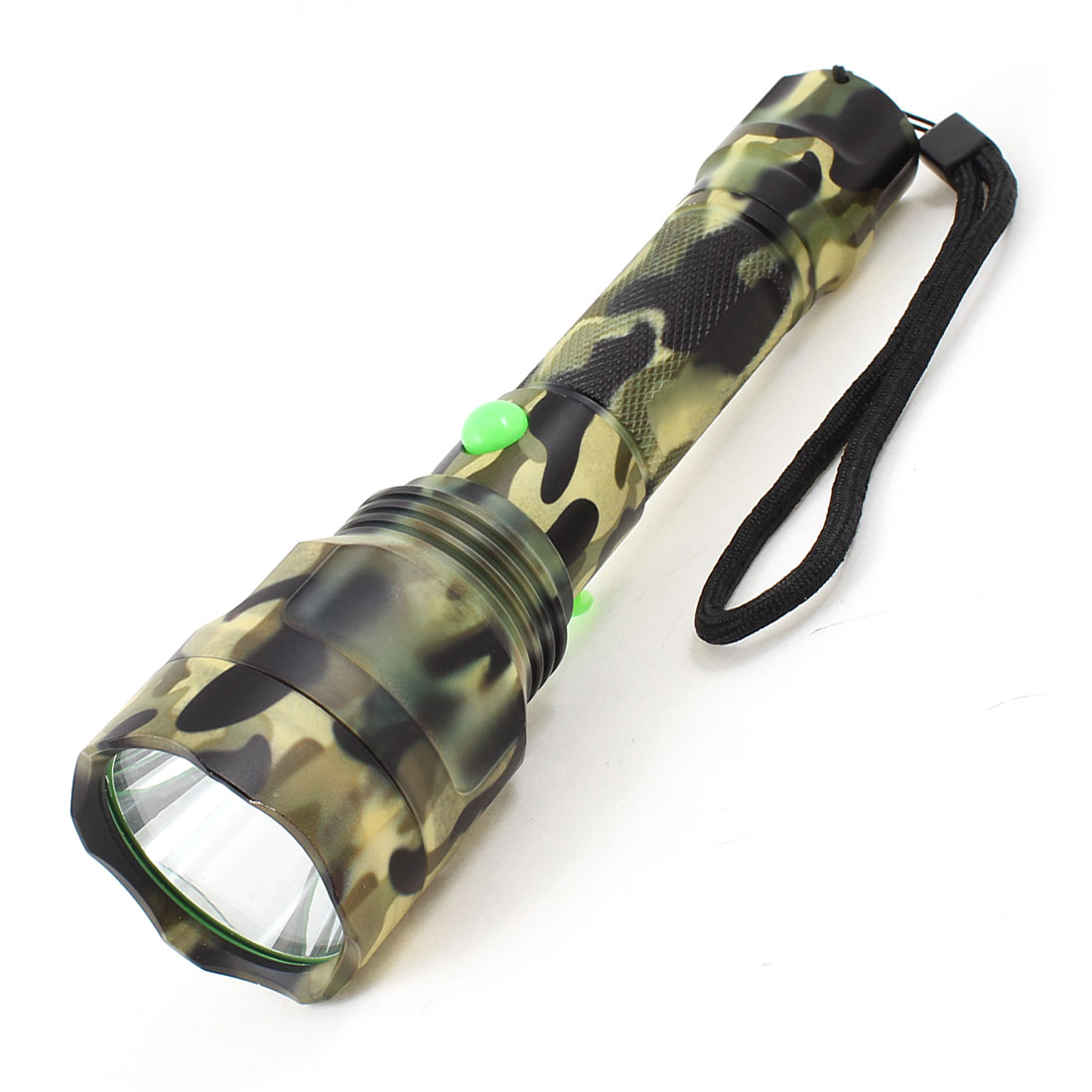 Black Green Housing 850LM 10W 3 Modes White LED Light Rechargeable Flashlight