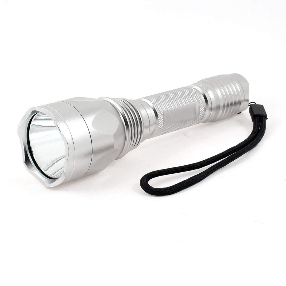 "6.3"" Long 850 Lumens White LED Light Flashlight Torch Silver Tone w Strap"
