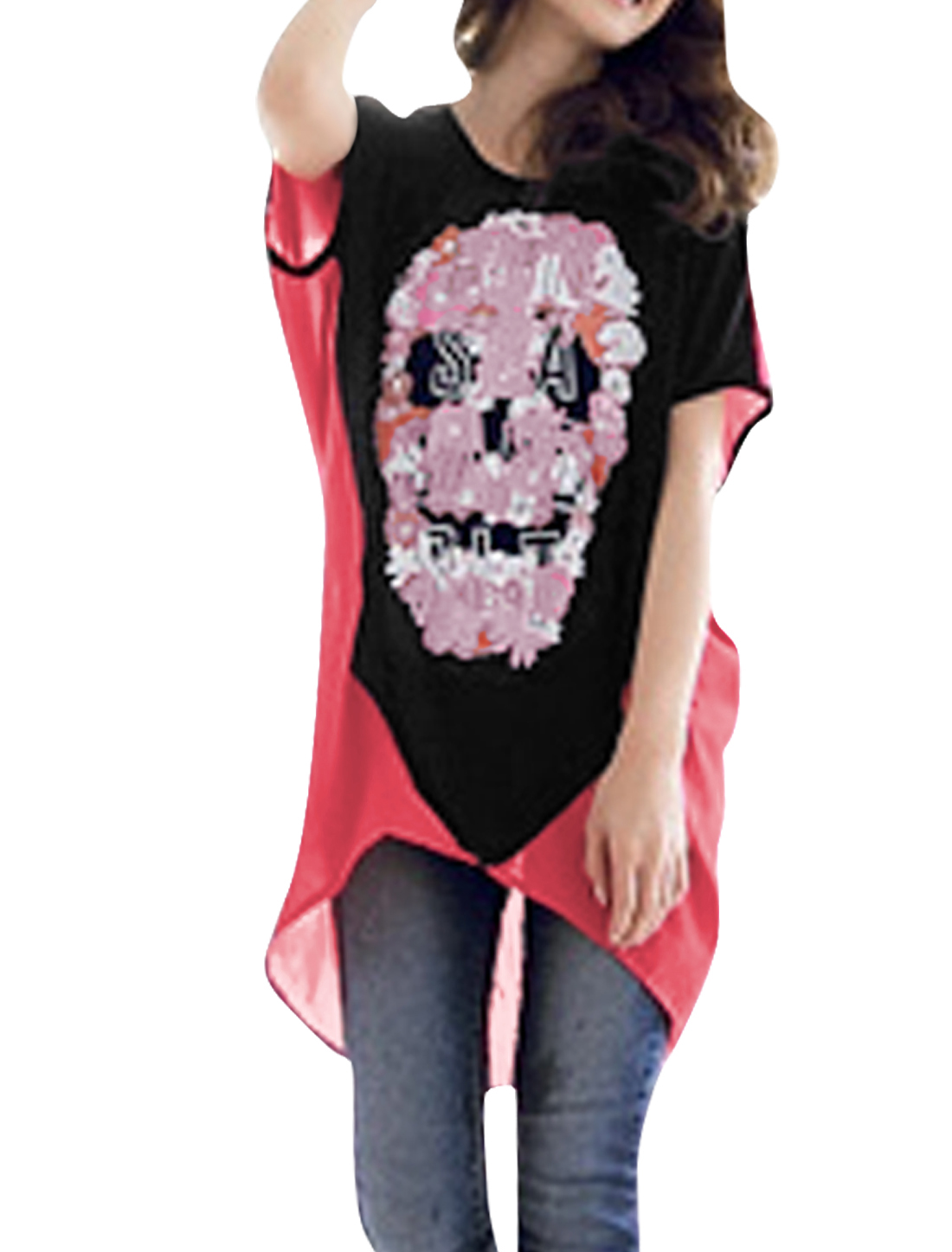 Ladies Chic Floral Skull Pattern Splice Watermelon Red Black Loose Shirt XS