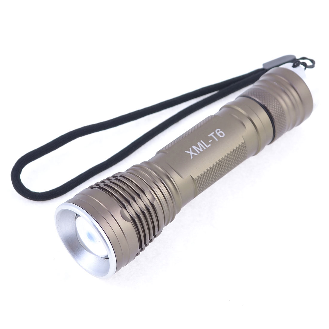 "Nonslip Handle 250LM LED White Light Camping Flashlight Coffee Color 4.7"" Long"