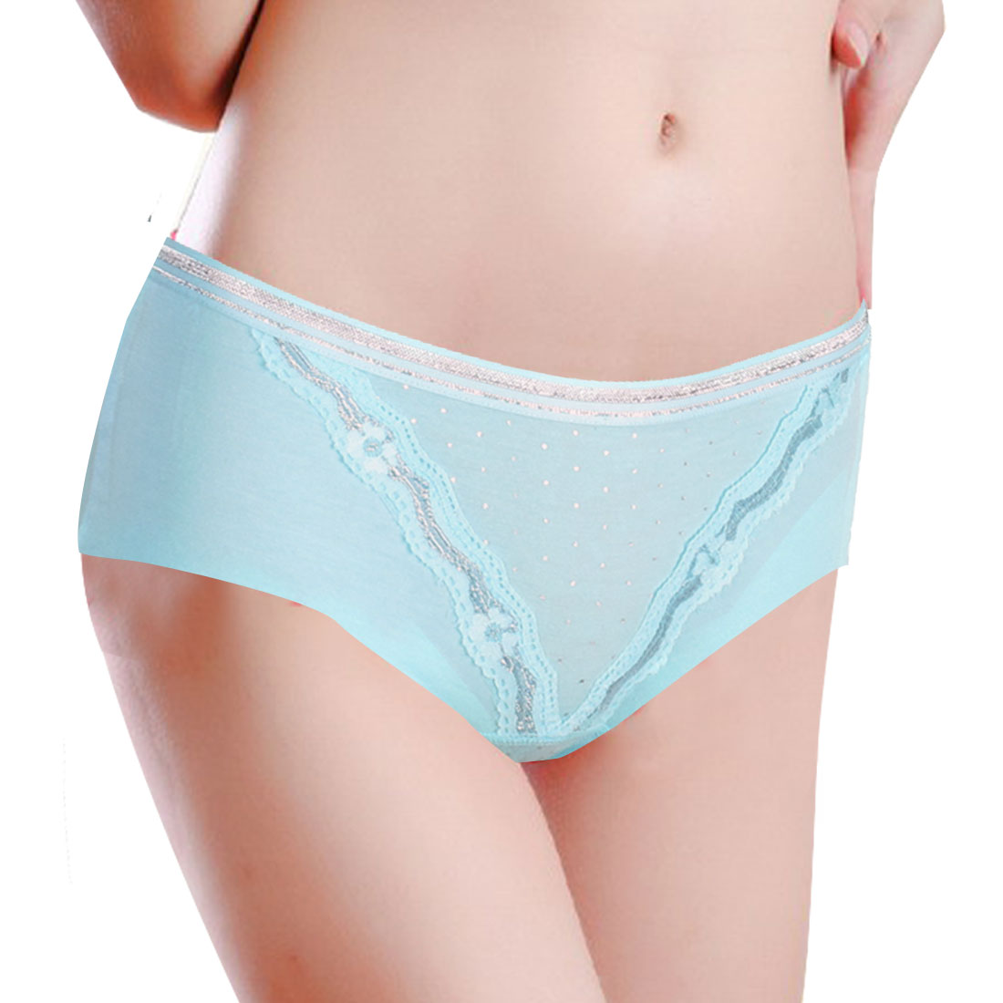 laced Edge Detail Natural Underwear Briefs Panties Blue XS for Woman