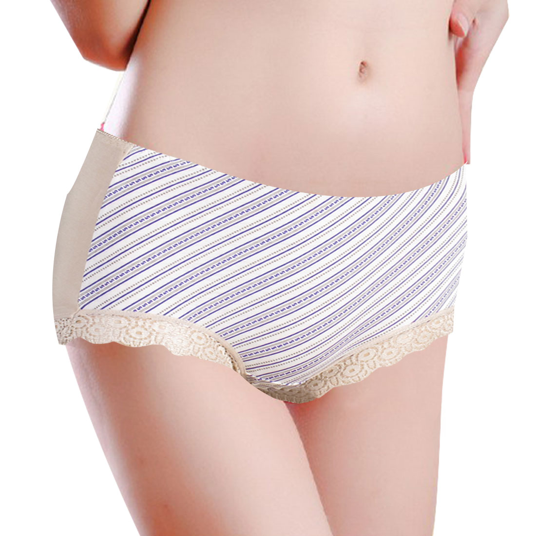 Women Natural Beige Laced Cuff Stretchy Waist Underpants Briefs XS