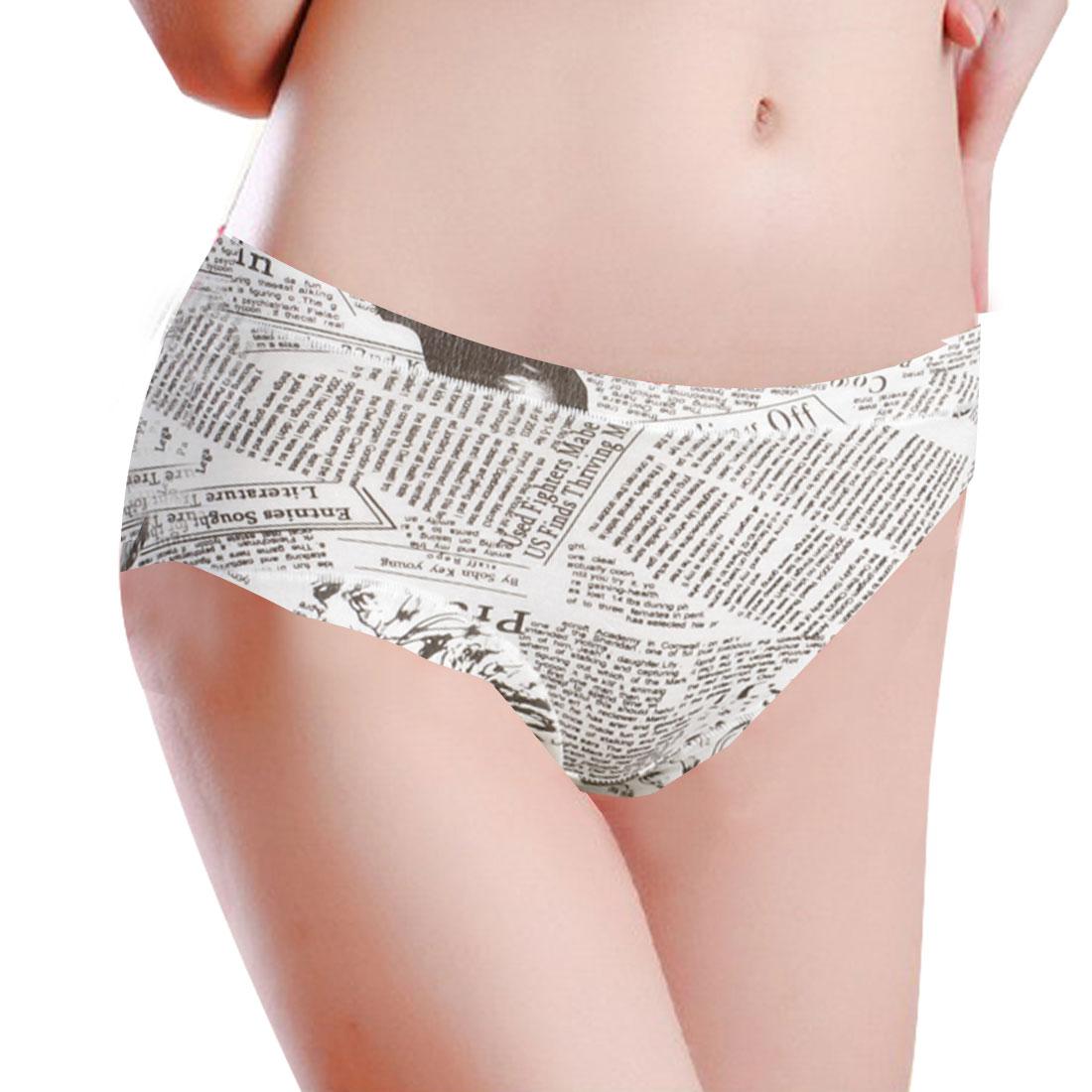 Ladies Newspaper Pattern Elastic Panties Briefs Brown White XS