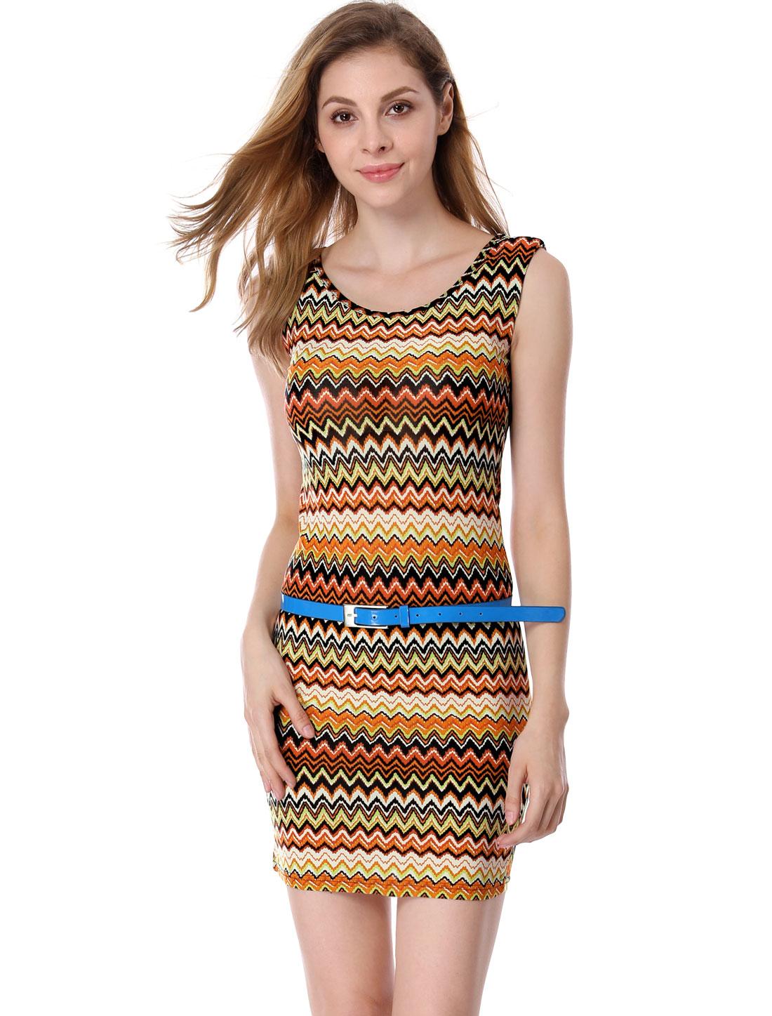 Woman Orange Light Yellow Padded Shoulder Slim Fit Mini Dress L