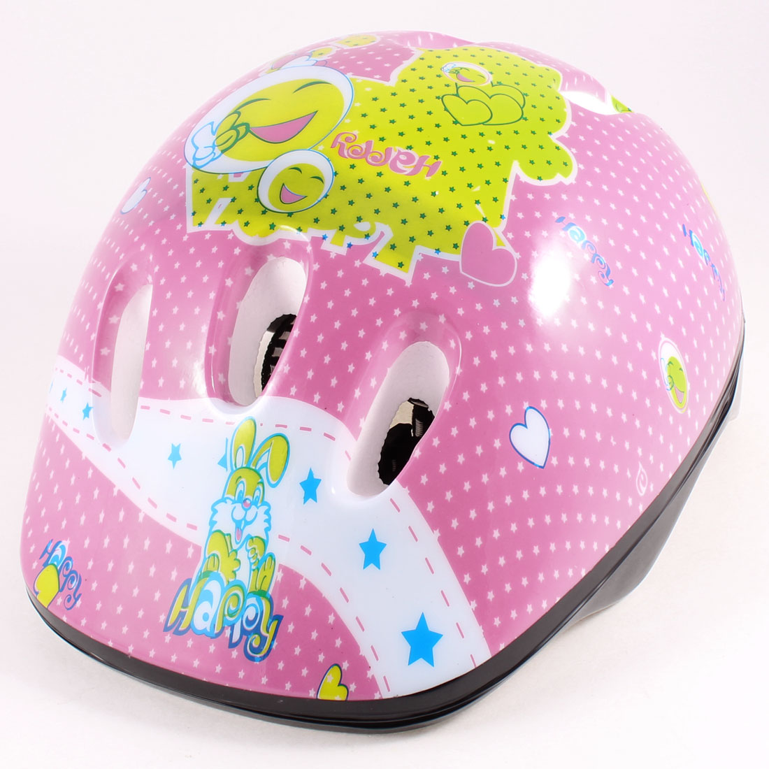 Child Rabbit Prints Quick Release Buckle Bike Cycle Skate Safety Helmet Pink