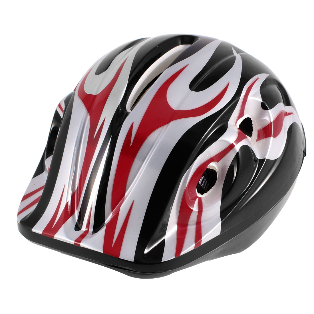 Flame Pattern Roller Skating Head Protection Sports Helmet Red Gray for Kids