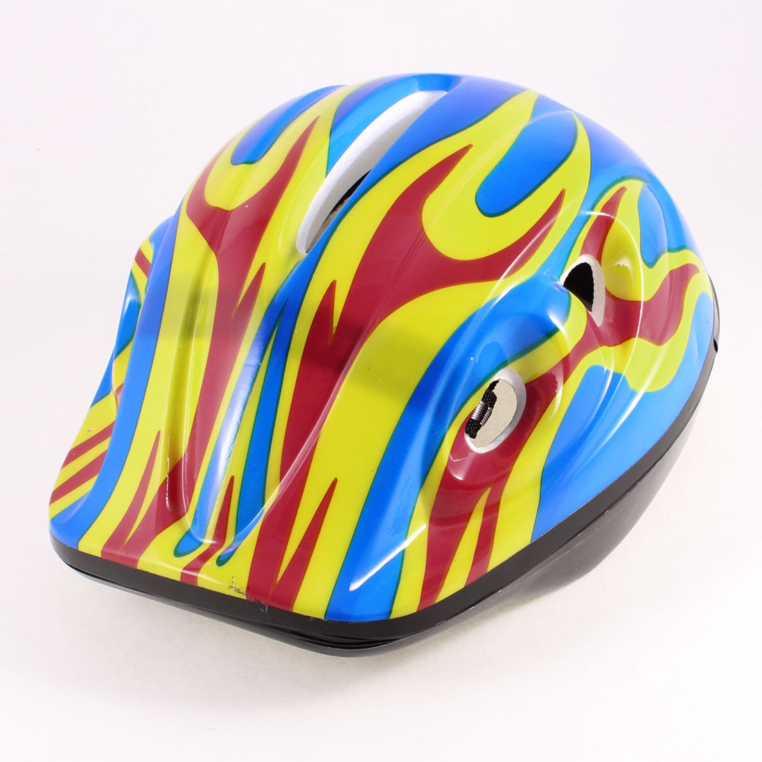 Children Red Yellow Flame Pattern Blue Foam Sports Cycling Skating Helmet