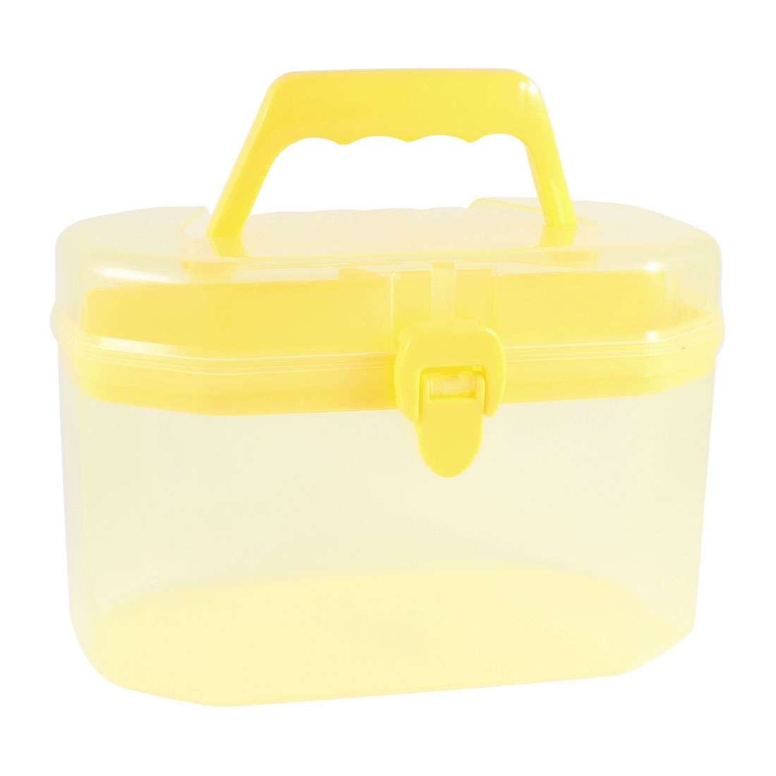 Plastic Dual Layers Detachable Cosmetic Storage Handle Box Case Clear Yellow