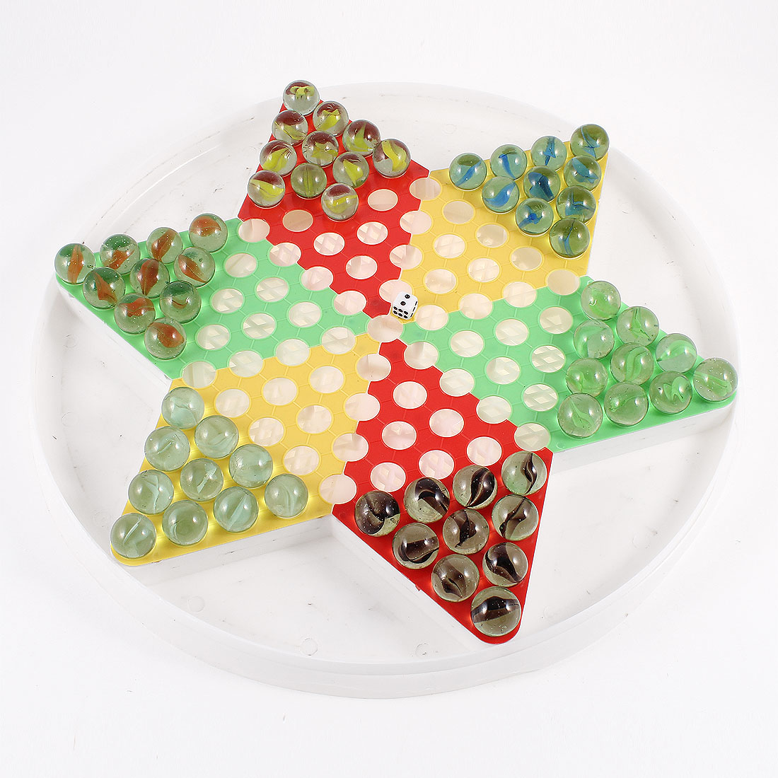Child Plastic Board Colorful Glass Chessmen Chinese Checkers Intelligent Toy