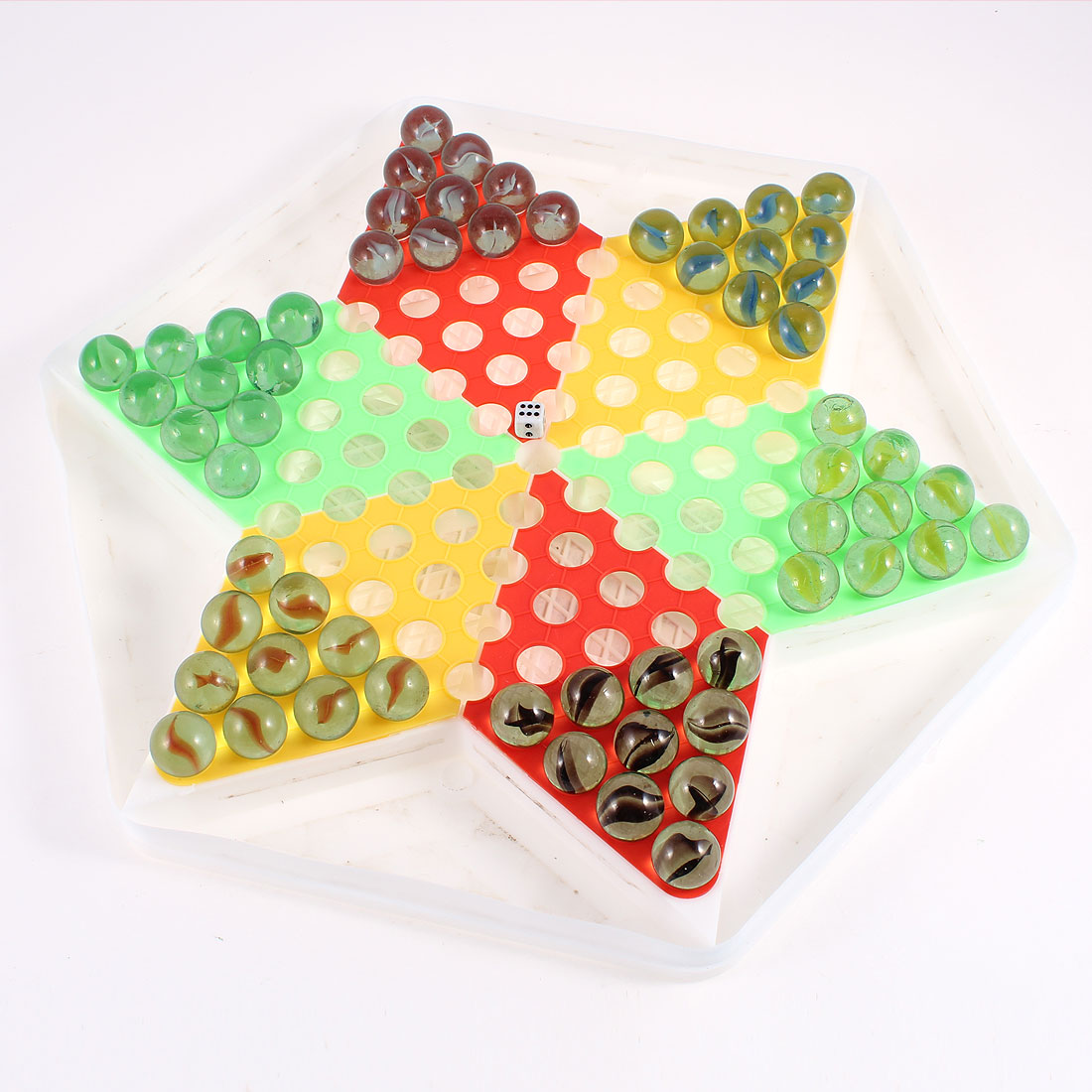 Kids Entertainment Tool Glass Beads Plastic Hexagon Board Chinese Checkers
