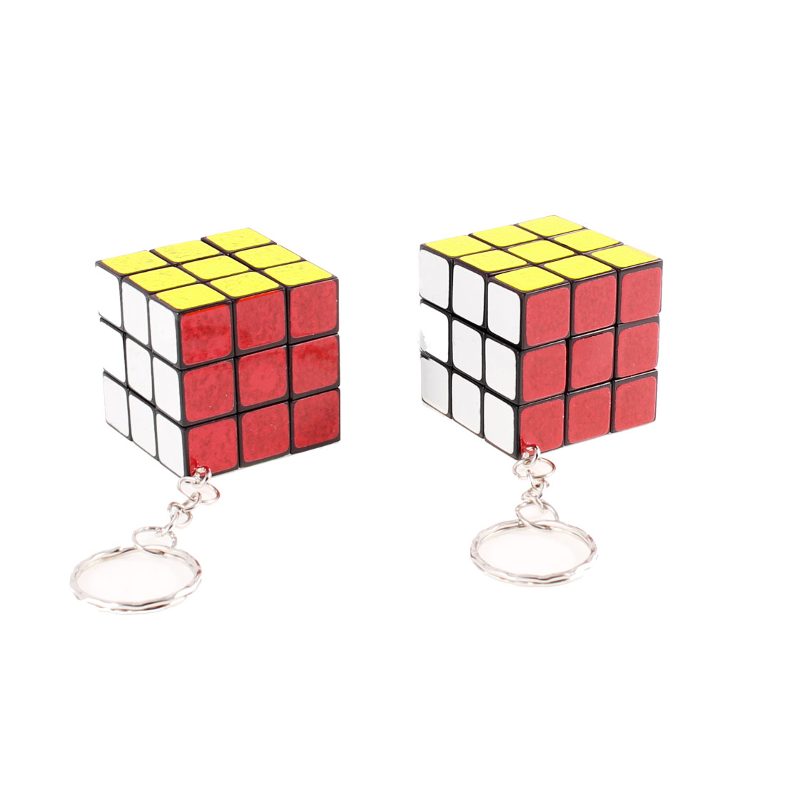 Multi Color Plastic Magic Cube Pendant Silver Tone Key Chain 2pcs
