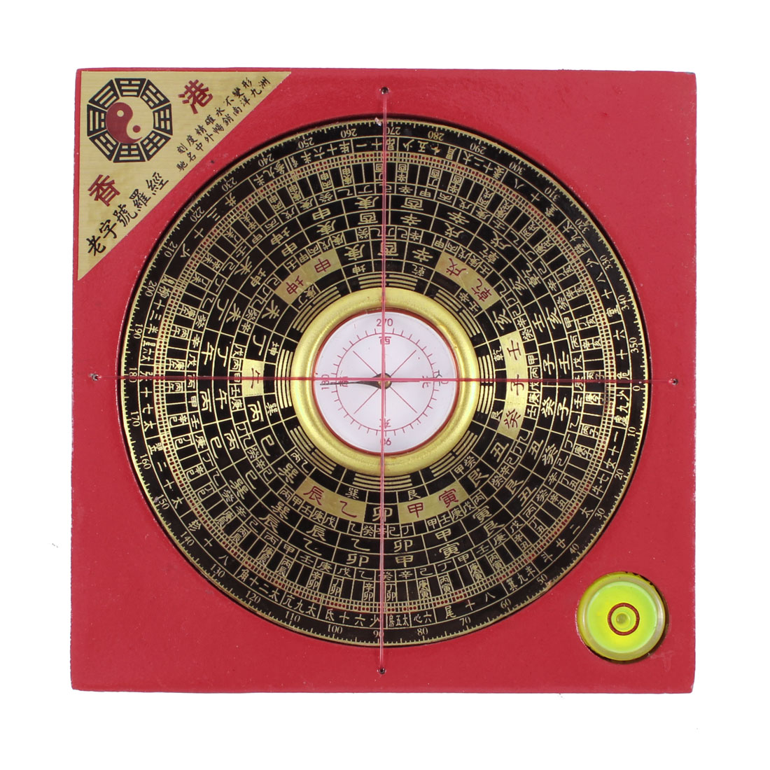 Red Gold Tone Chinese era Pattern Spirit Level Accent Collectible Compass