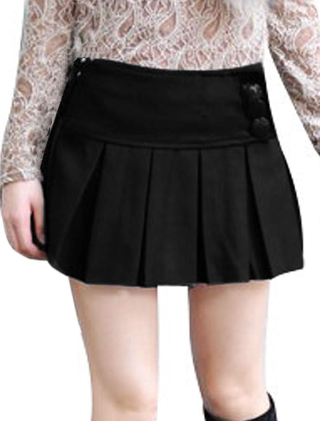 Girls Buttons Decor Winter Wear Worsted Mini Skirt 14