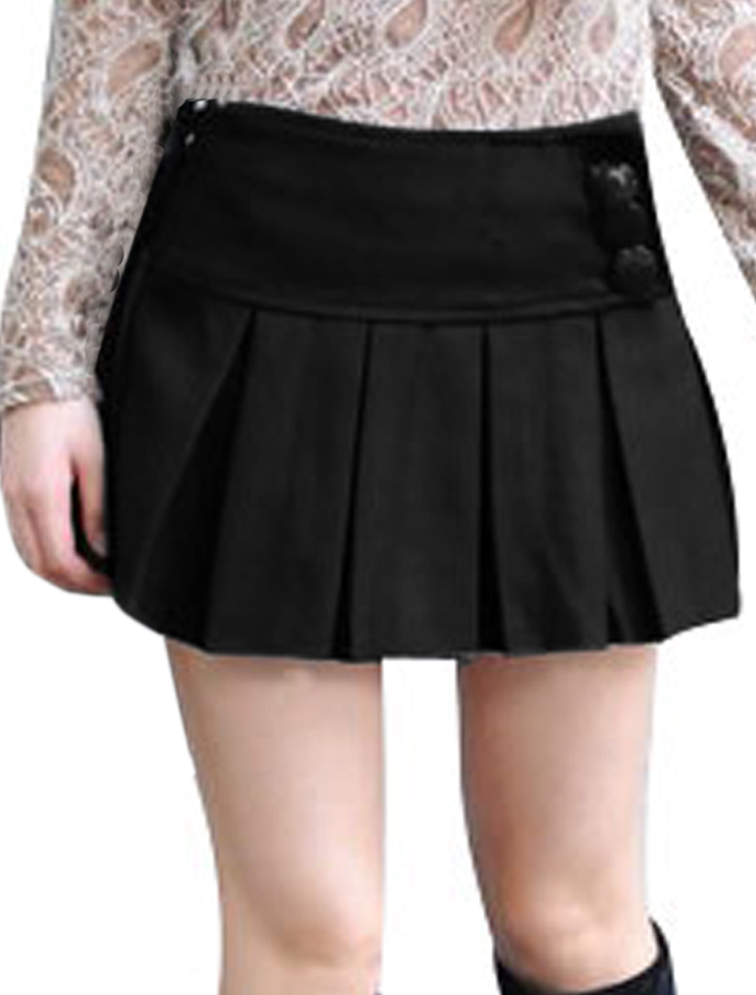 Women Pure Color Conceal Zipper Side Black Worsted Mini Skirt L