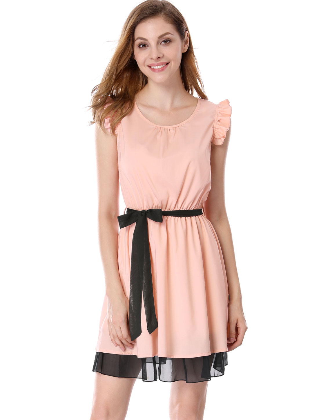 Woman Chic Scoop Neck Ruffled Cap Sleeve Pink Above Knee Dress S