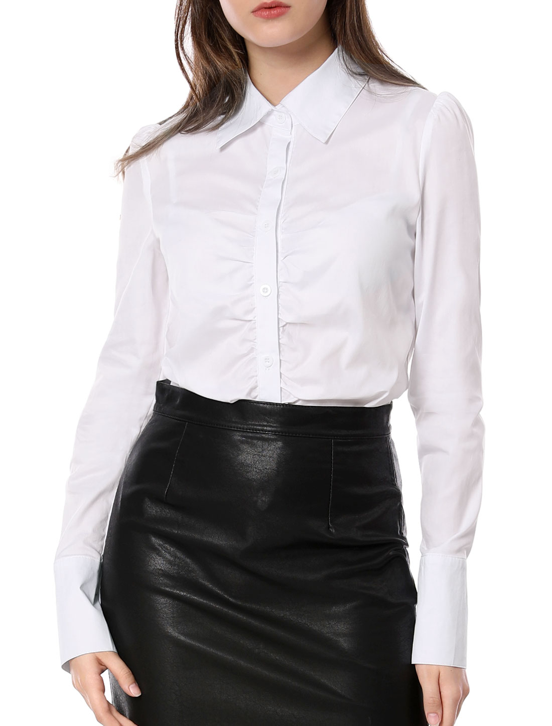 Woman Solid Color Single-Breasted Front White Career Blouse M