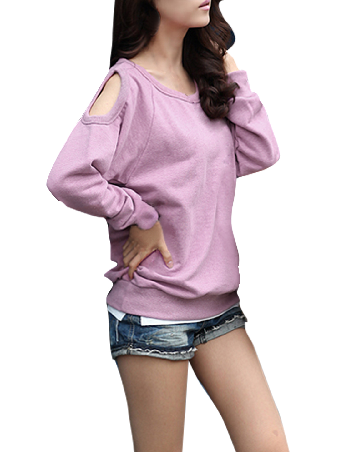 Ladies Chic Scoop Neck Cutout Shoulder Design Lilac Shirt L