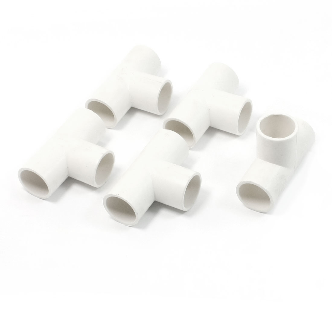 5 Pcs 20mm Hole 3 Ways White PVC Pipe Tee Shaped Connectors Fittings
