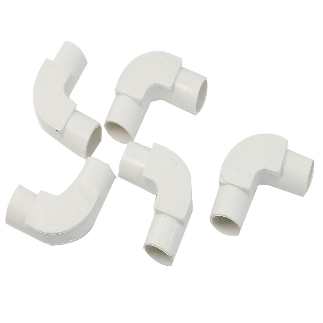 5 Pcs 20mm Inner Dia. 90 Degree Elbow White PVC Pipe Connectors w Cover