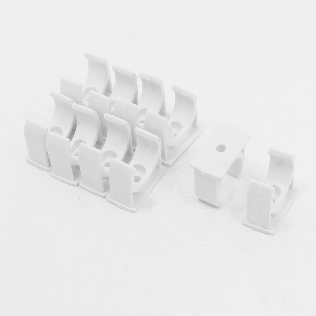 10 Pcs 25mm Diameter White PVC Water Supply Pipe Clamps Clips Fittings