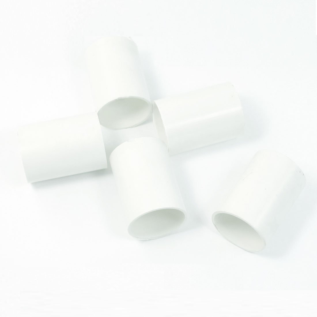 5 Pcs 32mm Inner Diameter Straight PVC Pipe Connectors Fittings White