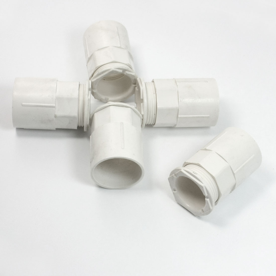 5 Pcs 32mm Inner Dia. Straight Fittings PVC Pipe Connectors White