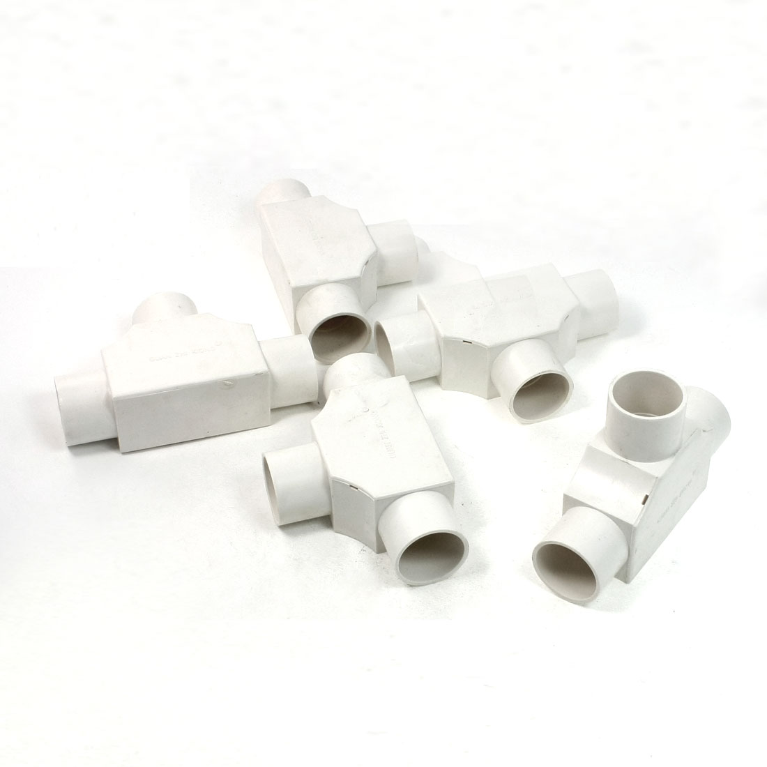 5 Pcs 25mm Hole 3 Ways White PVC Pipe Tee Shaped Connectors w Cover