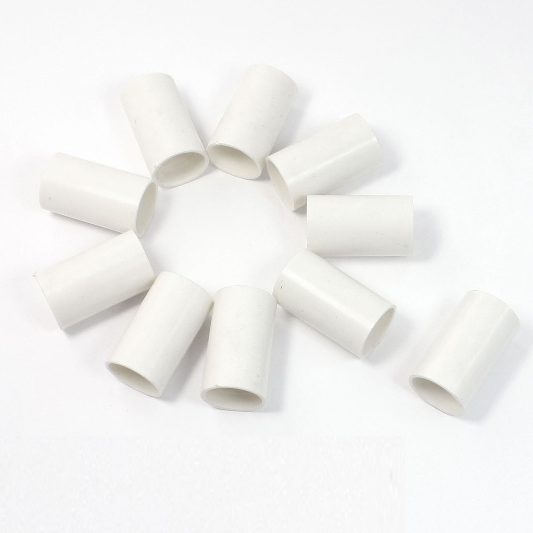 10 Pcs 20mm Inner Diameter Straight PVC Pipe Connectors Fittings White