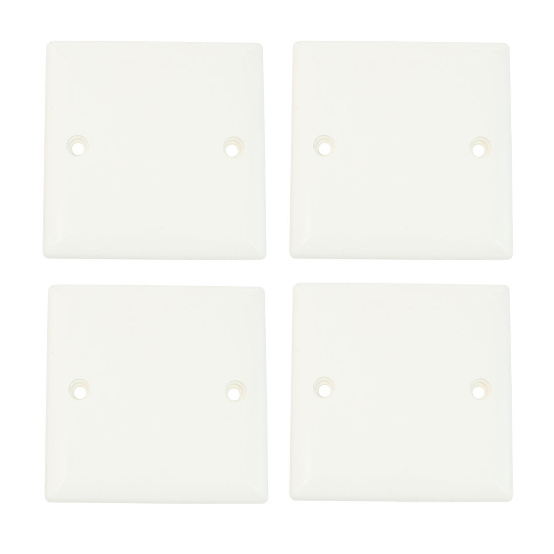 4 Pcs 86x86mm White PVC Square Wallplate Switch Junction Box Cover Panel
