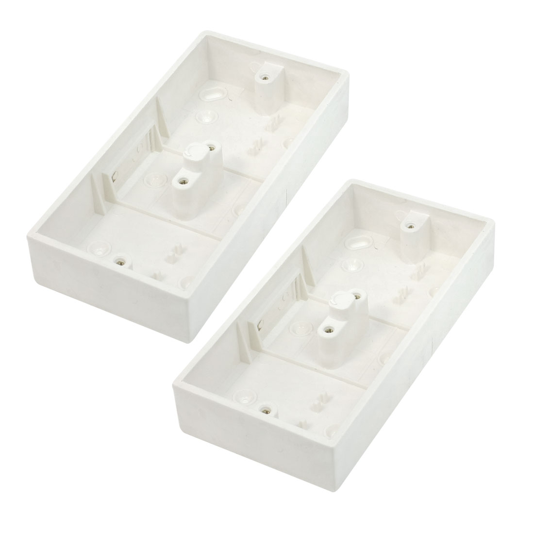 2 Pcs 172x86x33mm White PVC Surface Mounted Wallpanel 2 Gang Junction Box Case