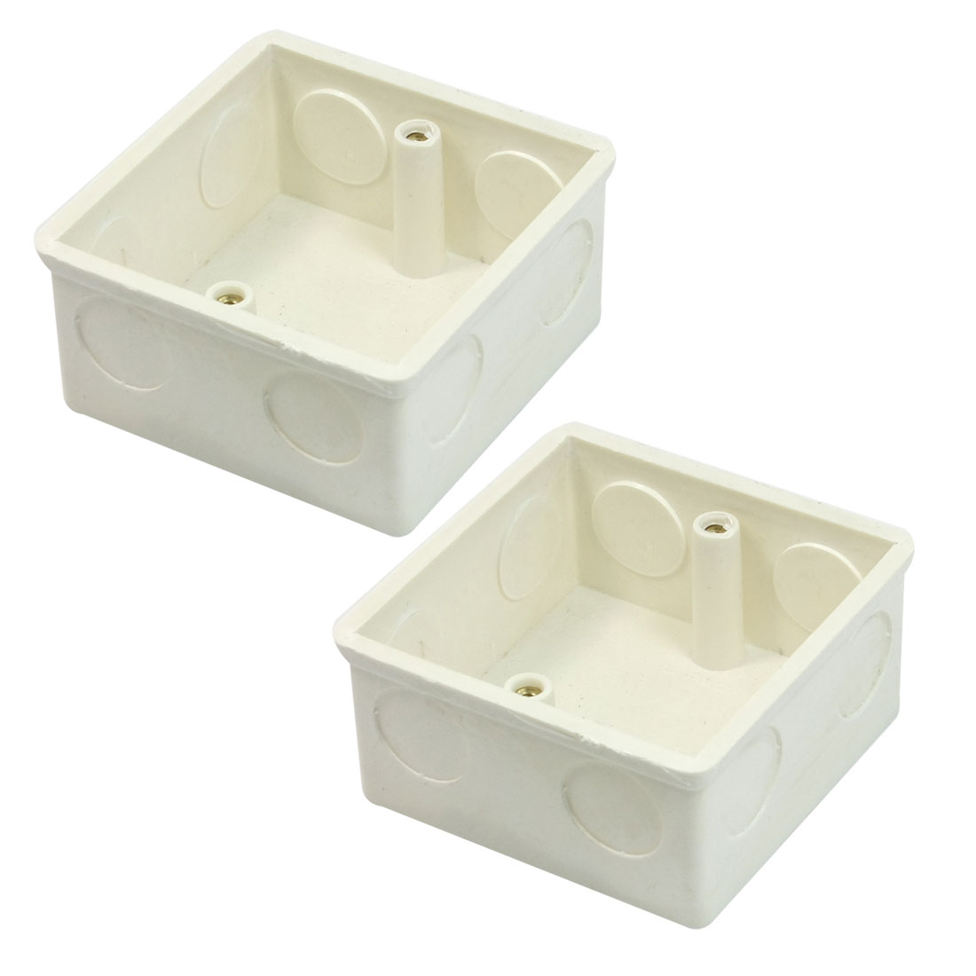 2 Pcs 77x77x38mm White PVC Flush-Type Wall Mounted Single Gang Junction Box