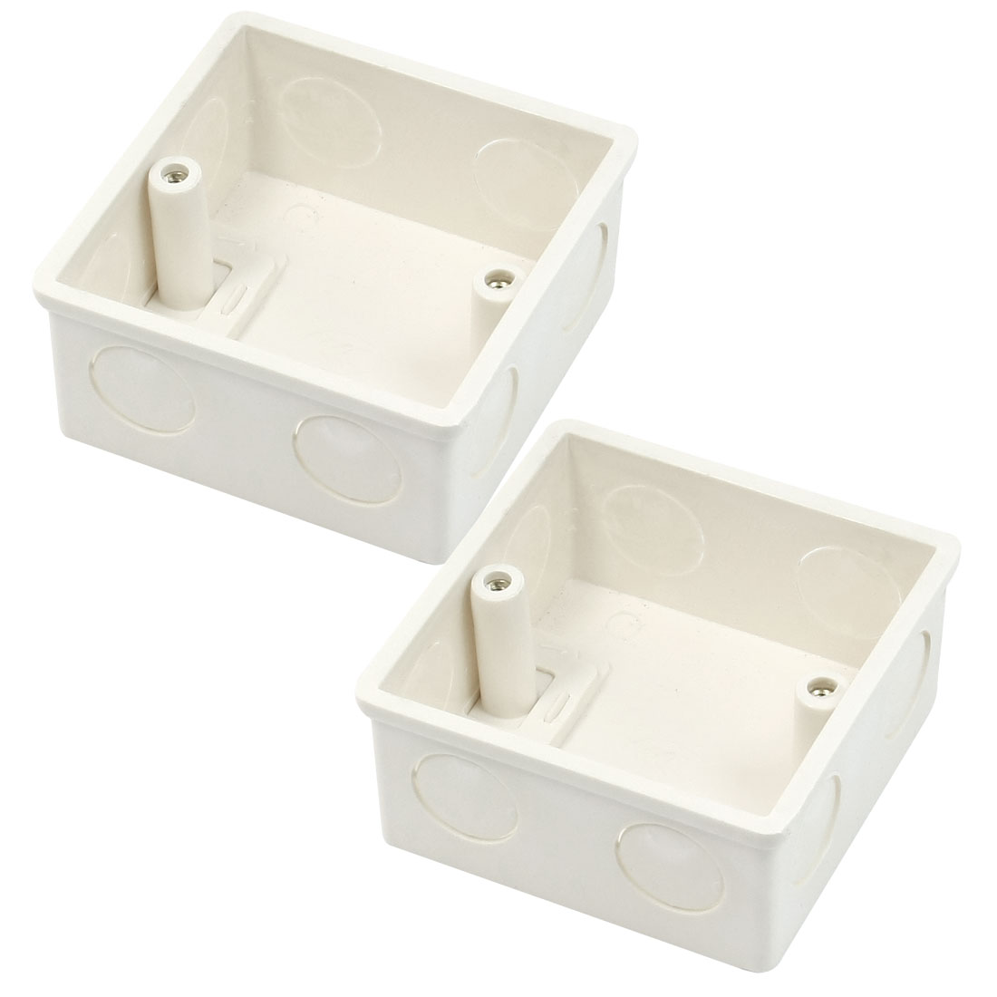 2 Pcs 78x78x37mm White PVC Flush-Type Wall Mounted Single Gang Junction Box