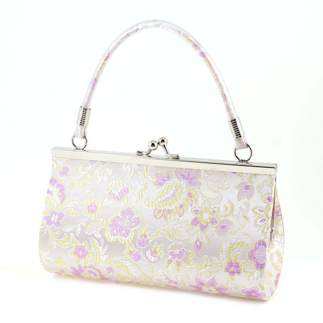 Embroidery Chinese Gold Tone Leaf Purse Pouch Handbag Light Purple for Ladies
